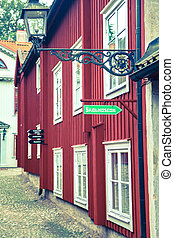 Typical red houses, Sweden - Typical red houses in open air...