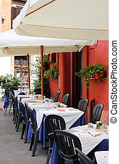 Detailed view of a typical restaurant in Rome (Italy)