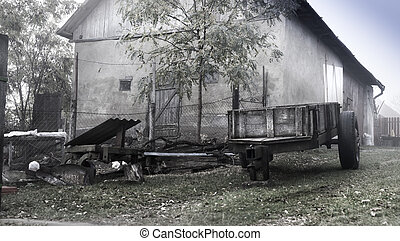 Typical scene on a foggy morning in Sic village, Transylvania, Romania
