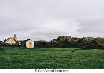 Typical small houses in Iceland.