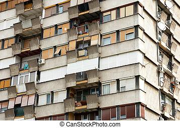 Typical socialis block of appartments in Novi Sad, Serbia