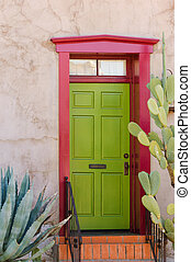 Colorful southwestern style adobe door in historical part of Tuscon, Arizona, USA