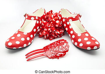 typical  Spanish - typical spotted Spanish dance shoes