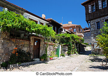 Typical street in old town of Sozopol, Bulgaria