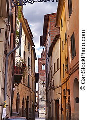 Typical street in the ancient center of Pistoia