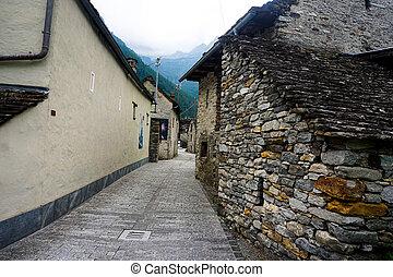 Typical street in the beautiful village Sonogno, Switzerland