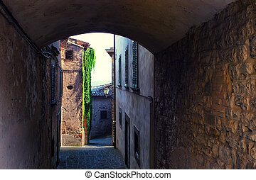 Typical street of a small town in Tuscany