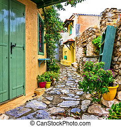 Typical streets of old traditional villages of Greece - Alonissos island, Chora village. Sporades