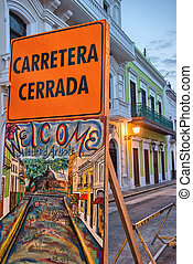 Typical streets of San Juan in Puerto Rico