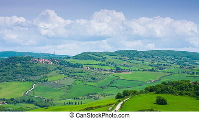 Typical summer landscape in Tuscany, the top view, timelapse