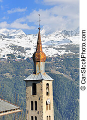 typical tower of church in Savoy -France