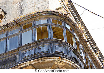 Typical traditional old balconies in the center of Valletta in Malta.