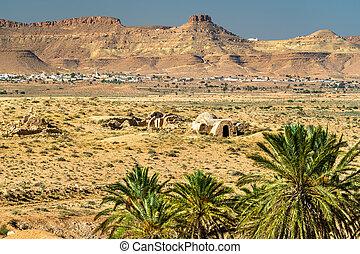 Typical Tunisian landscape at Ksar El Ferech near Tataouine