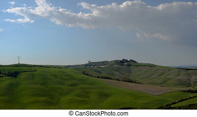 Typical Tuscan landscape with the beautiful green hills
