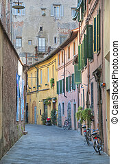 Typical Tuscan Street, Lucca, Italy, October 2009
