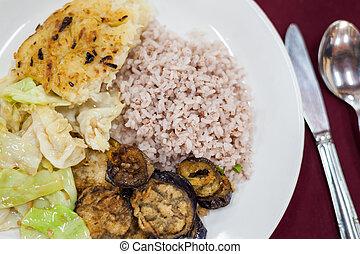 Typical vegetarian meal in Bhutan