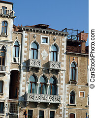 Typical Venetian scene with windows. Venice Italy