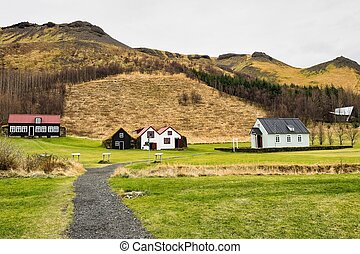 Typical view of Icelandic houses in the Skogar village in Iceland, Europe.