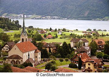 Typical village in Switzerland Europe