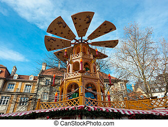 Typical wooden christmas carousel, Munich, Bavaria, Germany.