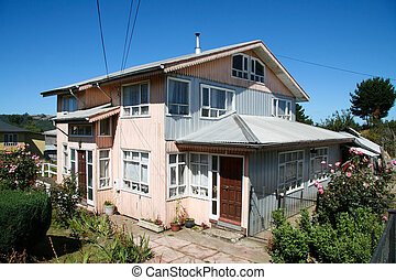 Typical wooden house in Chiloe island, Chile