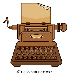 Typing machine and paper isolated icon, novel writing - ...