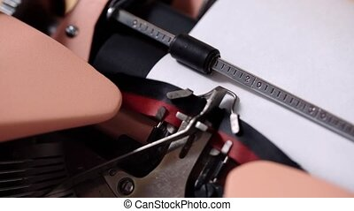 Typing on retro typewriter