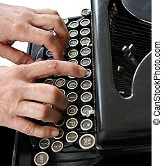 typing with B&W background
