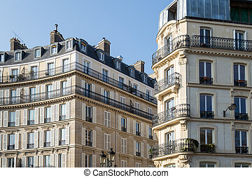 typique, haussmann, paris., bâtiment