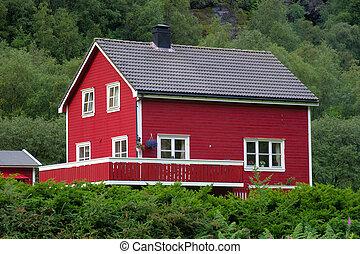 typique, norvégien, maison