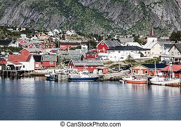 typique, norvégien, pêchant village, à, traditionnel, rouges, rorbu, huttes, reine, lofoten, îles, norvège