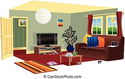 typique, scène, livingroom