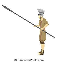 typique, soldat, militaire, empire, coloré, plat, vecteur, romain, spear., inclut, uniforme, casque, fond, habit, blanc, drawing.