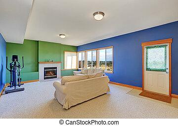 Typisch, Amerikanische , Wohnzimmer, Design.