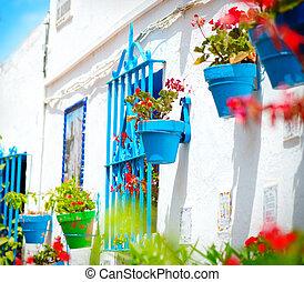 typisch, costa, torremolinos., del, andalucia., sol, dorp, witte