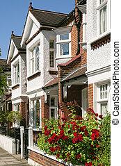 typisch, engelse , toerbeurt huizen, terrasvormig, london.