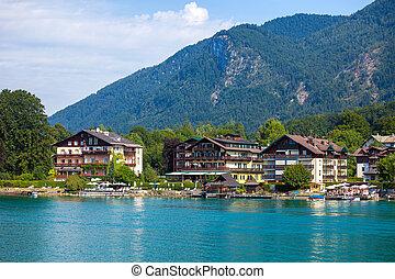 typisch, gäste, haus, auf, wolfgang, sehen, lake stürzte,...