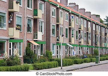 typisch, hollandse, woongebied, straat, met, vlak