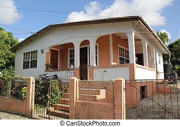 typisch, huis binnen, antigua, barbuda