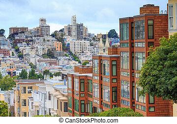 typisch, san francisco, nachbarschaft, kalifornien