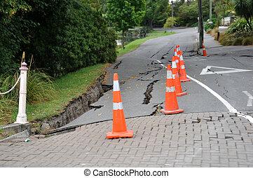 typisch, straat, beschadigen