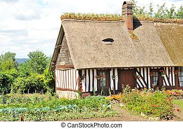 typisk, fransk, hus, in, normandie