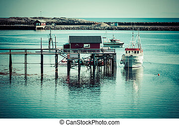 typisk, norrman, fiskeläge, med, traditionell, röd, rorbu,...