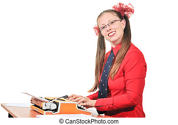 A girl sits at a desk and typing on a typewriter, by her side lay a sheets of white paper