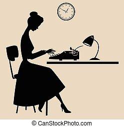 Typist silhouette - Retro style secretary/typist