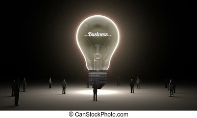 Typo 'Business' in light bulb and surrounded businessmen, engineers, idea concept version