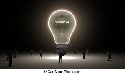 Typo 'Business Plan' in light bulb and surrounded...