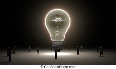 Typo 'Cloud computing' in light bulb and surrounded...