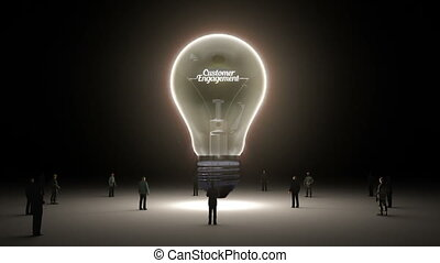 Typo 'Customer Engagement' in light bulb and surrounded...