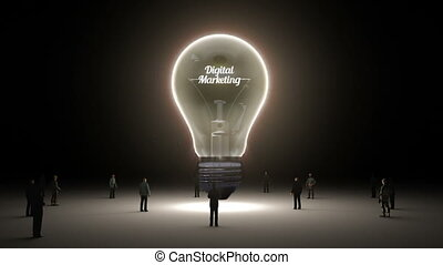 Typo 'digital marketing' in light bulb and surrounded...
